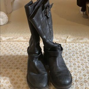 Fendi shearling lined motorcycle boots